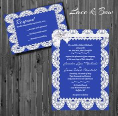 Lace Wedding InvitationPrintableBowCustom by GooseCornerGreetings, $30.00