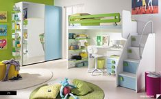 Gala Green: A Cozy Room Design for Kids' Bedroom - Architecture and Interior Design Trends Girls Room Design, Kids Bedroom Designs, Bedroom Themes, Bedroom Decor, Bedroom Setup, Bedroom Office Combo, Room Interior, Interior Design, Stylish Interior