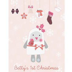 Baby Girl's 1st Christmas Print