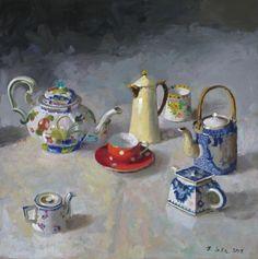 Teapots Chasing a Teacup - Randall Lake Art