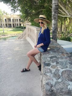 Kelly of The Vintage Blonde blog looks cool, chic, and sun protected at the Phoenician resort in our Coastal Crush French Terry Fringe Tunic! Cabana Life 50+ UPV Sun Protective Clothing