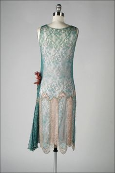 1920's Teal Lace Metallic Embroidery Flapper Dress. Back
