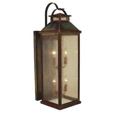 Arroyo Craftsman Canterbury 4-Light Outdoor Wall Lantern Finish: Rustic Brown, Shade Color: Amber Mica