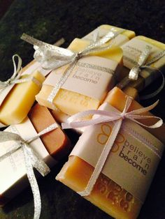 Business Holiday Party Favors. Great idea for corporate events as we can personalize with company colors and logo!  Simply Rustic Soap Co.