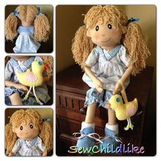 handmade rag doll PIPPA and Easter chick cloth art craft fabric SewChildlike | eBay
