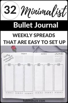 32 simple and minimalist bullet journal weekly spreads/layouts for new ideas! #bulletjournal #bulletjournalweeklylog #bujo #weeklyspread