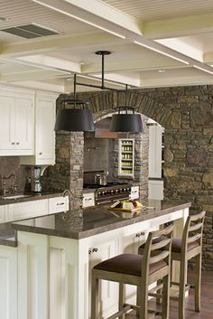 For more of my work and tips go to http://www.dorynwallach.com Country kitchen mixed with clean lined cabinets and furniture. #kitchen #design