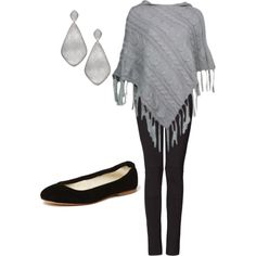 Simple and Sleek Poncho Outfit, created by k-palmer on Polyvore
