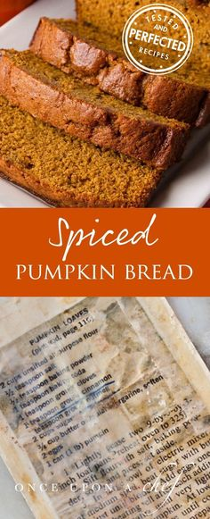Pumpkin Bread- tried it and it's amazing! The best spiced pumpkin bread I've tried so far Fall Recipes, Holiday Recipes, Baking Recipes, Dessert Recipes, Breakfast And Brunch, Fall Baking, Fall Trends, Sweet Bread, Muffins