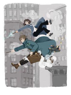 """Newt and Tina - Tina Goldstein: """"NEWT,… save HIM!"""" by Artemis"""