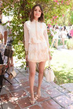 Olivia Culpo is #soDVF in the DVF Delphina embroidered tulle Dress. #chillchella
