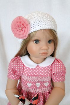 Hand smocked dress and hat for Kidz N Cats by dancingwithneedles, $46.00