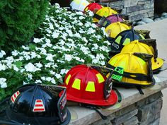 all the firefighters participating in the wedding can place out their helmets from their station =) free decorations...honor them too