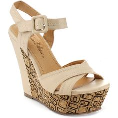 De Blossom Collection 'Viccy-1' Women's Platform Ankle Strap Wedges