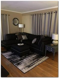 black living room decor with minimalist design 25 Living Room Decor Cozy, Living Room White, Home Living Room, Apartment Living, Living Room Designs, Small Living, 1st Apartment, Apartment Ideas, First Apartment Decorating