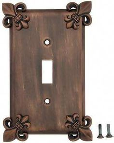 Fleur-De-Lis Wall Plate (Antique Copper Finish)have these in my kitchen. Tuscan Design, Tuscan Style, Switch Plate Covers, Light Switch Covers, Switch Plates, Tuscan Decorating, Decorating Ideas, Mediterranean Home Decor, Kirchen