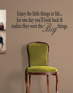 Enjoy the Little Things in Life Inspirational Quote Decal Sticker Wall Vinyl Decor Art - green