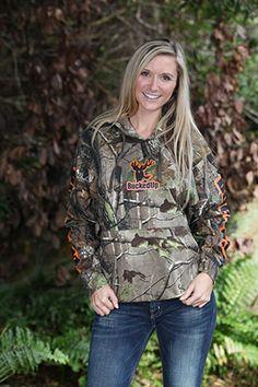 $44.99 Pullover Hoodie - Realtree APG Camo with Orange Logo (W) www.buckedupapparel.com