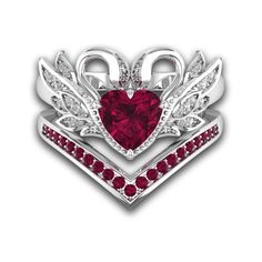 Heart Cut Ruby Bridal Sets With Swan Inspired For Female