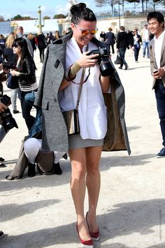 Garance Dore - grey oversized coat and a white button down shirt.