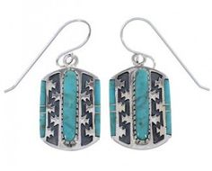 Sterling Silver And Turquoise Southwestern Jewelry Earrings PX32766