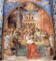 (19) Death of St Francis.  Scenes from the Life of St Francis (Scene 12, south wall). 1452 Fresco, 270 x 220 cm Apsidal chapel, San Francesco, Montefalco.