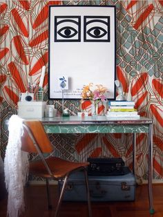 mixing bold patterns - home office + workspace