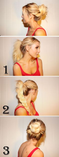 """A """"just messy enough"""" braided bun. How chic and easy is this?"""