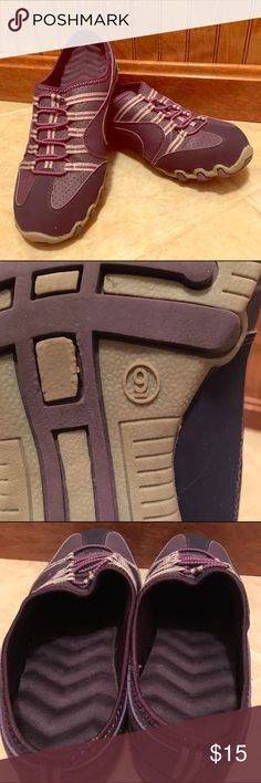 Purple Slip On Sneakers Size 9 These SUPER comfy sneaks have your feet sitting on a bed of foam.  Worn three times to work with my purple scrubs, these are perfect for a day on your feet!  EUC!  Smoke free home. Shoes