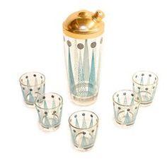 vintage martini shaker & glasses