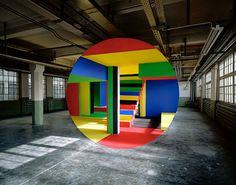 """The meticulous anamorphic art of Georges Rousse. See also: """"An Anamorphic Medusa… Land Art, Graffiti, 3d Foto, Street Art, Perspective Art, Art Plastique, Op Art, Optical Illusions, Installation Art"""