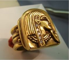 14K Gold amazingly detailed Egyptian ring with deco shank by Xidni, $850.00