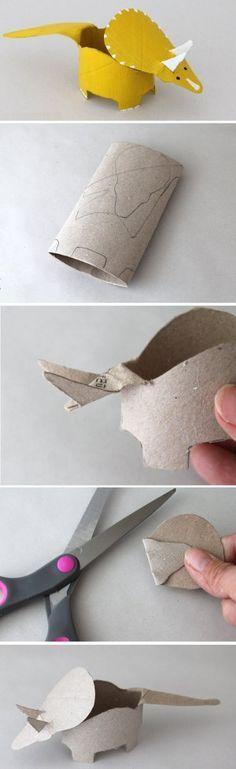 Triceratops made from toilet paper roll. tutorial. (