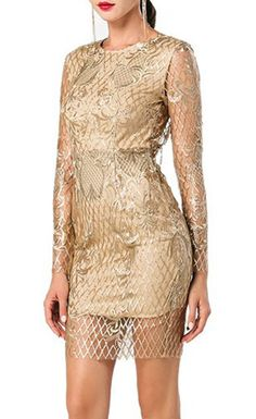 O-neck Halter Long Sleeve Sequin and Embroidery Dress