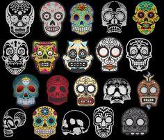 Candy Skulls designed in Adobe Illustrator CS 5 Sugar Scull, Sugar Skull Girl, Sugar Skull Costume, Disney Princess Tattoo, Skull Makeup, Skeleton Makeup, Vintage Witch, Vintage Halloween, Candy Skulls