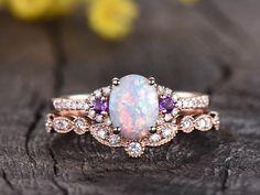 Opal Diamond Engagement Ring, Opal Wedding Ring Set, Diamond Wedding Rings, Vintage Engagement Rings, Unusual Wedding Rings, Chevron Ring, Bridal Rings, Bridal Jewelry, Jewelry Gifts