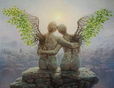 Eternity Tomasz Alen Kopera Movement: surrealism Type: oil on canvas Dimensions: 91 x 71 [cm] / 28 x 36 [in] Year: 2010 Fantasy Kunst, Fantasy Art, Fantasy Paintings, Oil Paintings, Art Visionnaire, Angeles, I Believe In Angels, Angels Among Us, Mystique