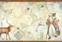 Rice Paper for Decoupage Decopatch Scrapbook Craft Sheet Vintage Santa s Letters
