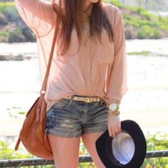 adorable sheer pink blouse. i love a good half-tuck. ;)