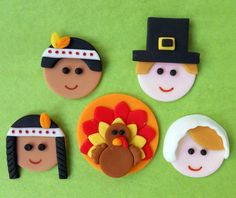 THANKSGIVING Cupcake Toppers. DELUXE Set. $24.00, via Etsy.