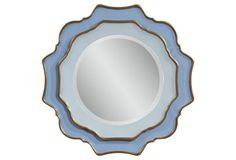 """31"""" Scalloped Double Mirror, Blue/Gold"""