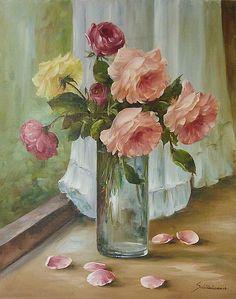 """""""Still Life Roses in a Vase""""   Heinz Scholnhammer."""