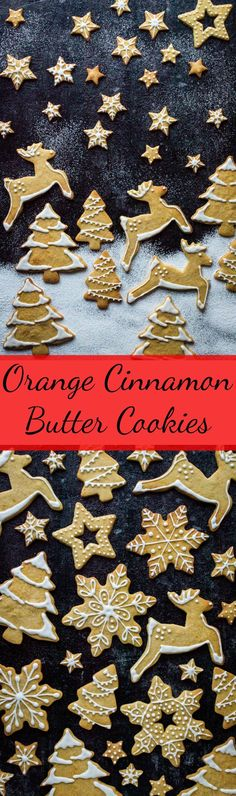 Orange cinnamon butter biscuits - crisp, buttery festive cookies that make great cut-outs for decorating and Christmas. #Christmas #baking #cookies