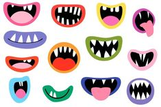 Monster mouths clipart set Funny face element Silly alien teeth clip art Ugly Halloween lips Party decoration Photo booth props Scrapbooking - Real Time - Diet, Exercise, Fitness, Finance You for Healthy articles ideas Dulceros Halloween, Moldes Halloween, Trendy Halloween, Halloween Designs, Mothers Day Crafts For Kids, Fathers Day Crafts, Monster Party, Silly Faces, Funny Faces
