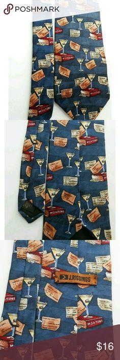 "Designer Martini Tie 58"" x 4"" J Riggins Men's Tie   Martini print fabric:  100% silk Length: 58"" Wide: 4"" Excellent unworn condition J Riggins Accessories Ties"