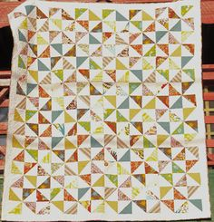 Lou Lou Thi Pinwheel Quilt Tutorial - easy method for a quick quilt