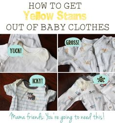Hey Moms! Try this out for both your clothes and baby's! How to Get Yellow Stains Out of Stored Baby Clothes