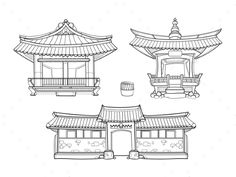 Buy Hanok Korean Traditional Architecture Vector by on GraphicRiver. Palace house, architecture asia village culture, asian home. Architecture Antique, Architecture Drawing Art, Architecture Résidentielle, Ancient Chinese Architecture, Japanese Architecture, Classical Architecture, Minimalist Architecture, Chinese Drawings, Korean Design