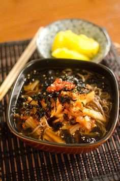 cold soba with kimchi and chili paste and sesame seeds