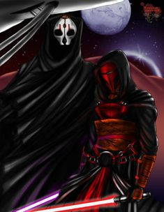 Never Forgotten by TyrineCarver.devi on Darth Nihilus and Darth R - Star Wars Siths - Ideas of Star Wars Siths - Never Forgotten by TyrineCarver.devi on Darth Nihilus and Darth Revan from the Knights of the Old Republic games Darth Revan, Darth Nihilus, Star Wars Concept Art, Star Wars Fan Art, Star Wars Kotor, Cuadros Star Wars, Star Wars The Old, Samurai, The Old Republic